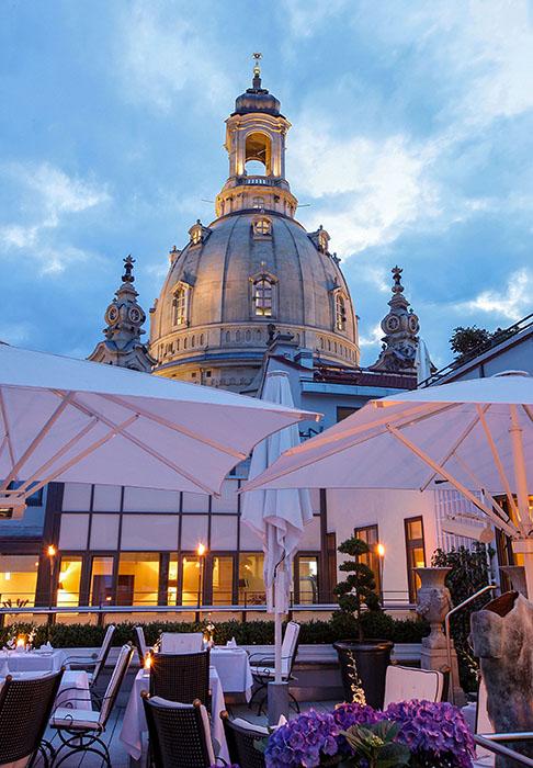 Die Dachterrasse des Hotel Suitess in Dresden