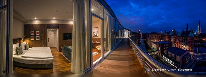 Suite des Ameron Hotel Speicherstadt Hamburg auf das Restaurant