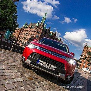 Weltkulturerbe: Mit dem Mitsubishi Outlander in der Speicherstadt in Hamburg