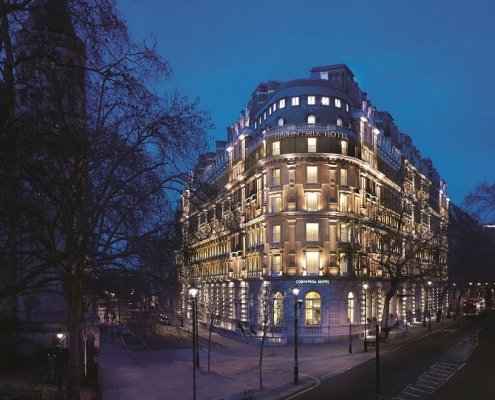 Corinthia Hotel London at night