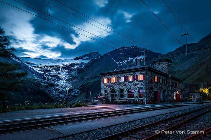 Bernina Express Bahnstation Alp Grüm