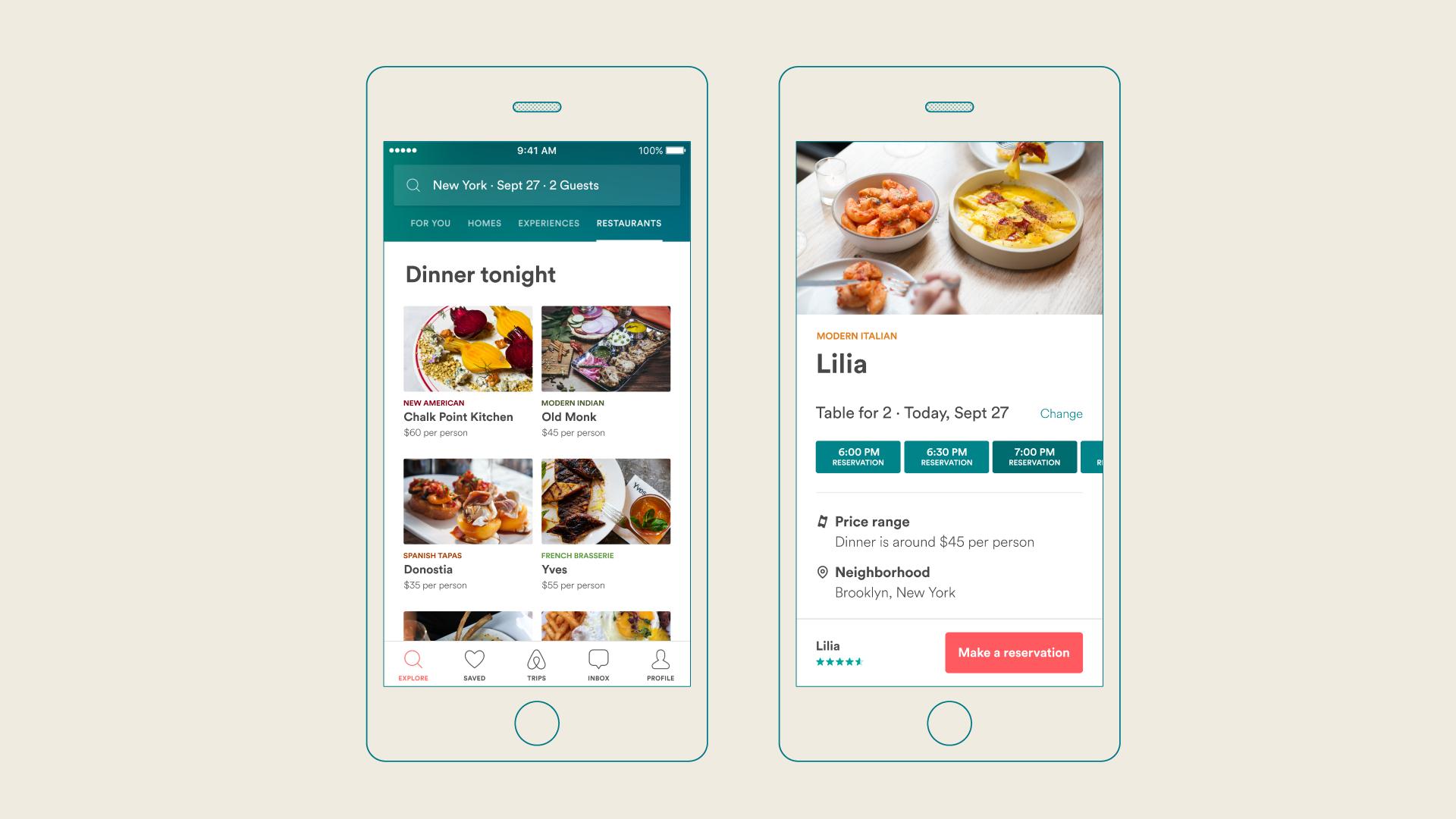 Airbnb offers in app restaurant reservations peter von stamm