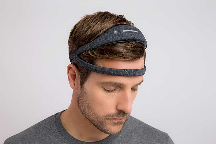 better and deeper sleep with Dreem Headbands at Pullman Hotels - guest woman sleeping with headband