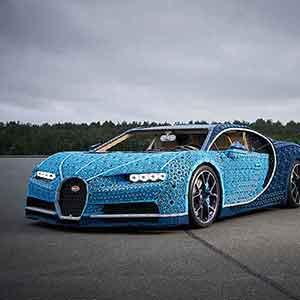 Ein Lego Bugatti Chiron mit satten 5,3 PS aus 2.304 Motoren