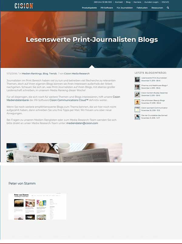 Cision Peter von Stamm Blog Empfehlung