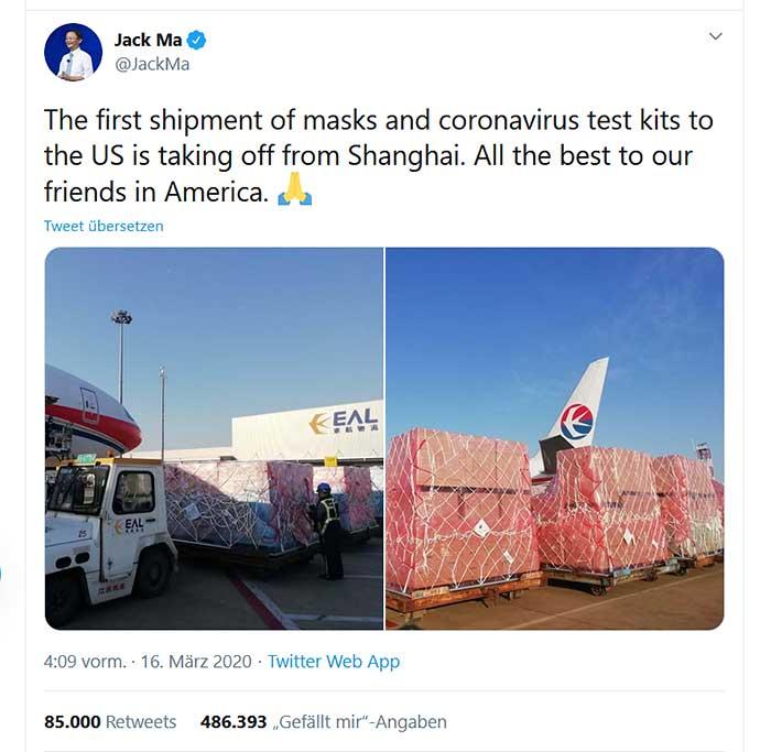 Tweet von Jack Ma