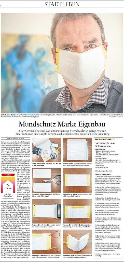 Mundschutz selber machen - Anleitung im Tagesspiegel